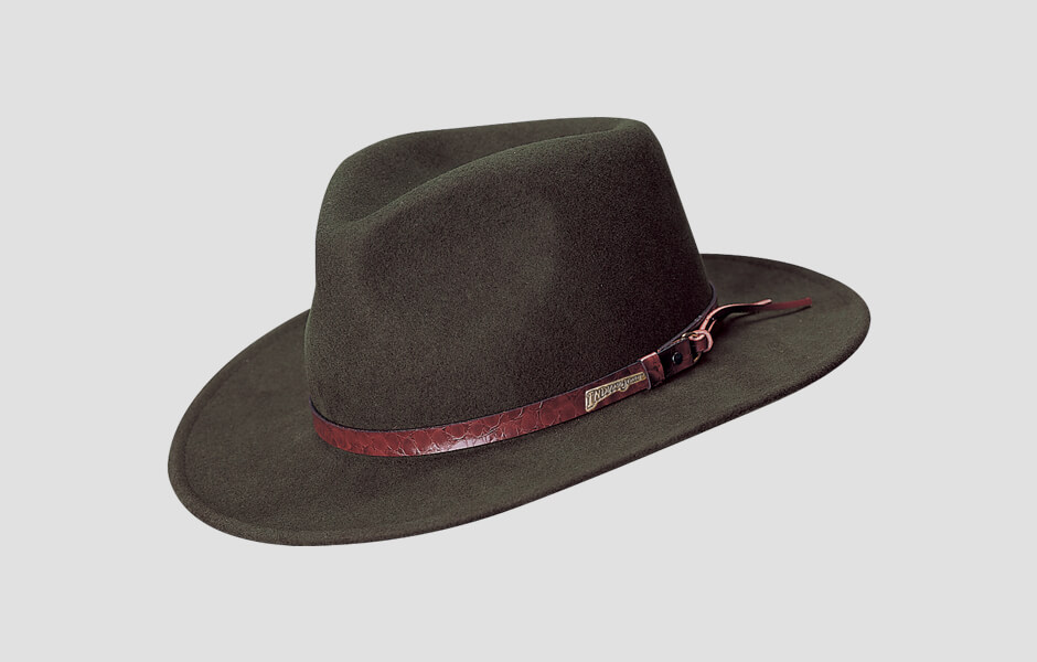 A dark brown Indiana Jones hat with brownish red band