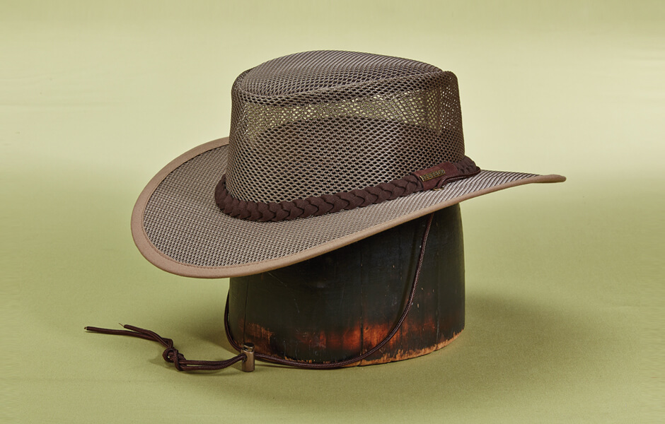 A brown Stetson hat with strings sitting on a wooden block