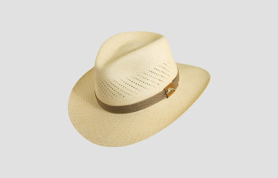Sandy brown hat with brown band and gold swordfish pin