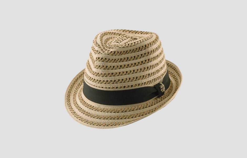 Brown striped hat with thick black band and gold palm tree pin