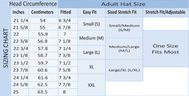 Hat size chart for adults