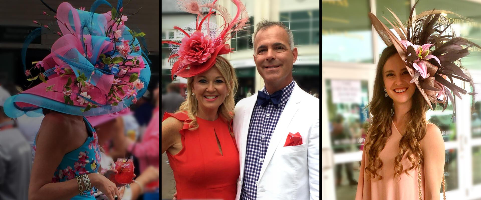 Three women wearing sinamay hats and a man dressed nicely at the Kentucky Derby